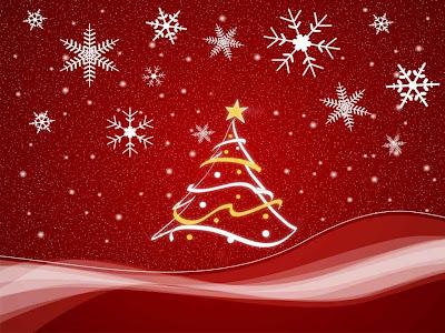 Lindo arbol de navidad con estrellas y fondo rojo