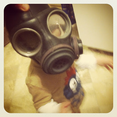 doctor who baby costume, diy toddler costume, toddler doctor who, gas mask costume
