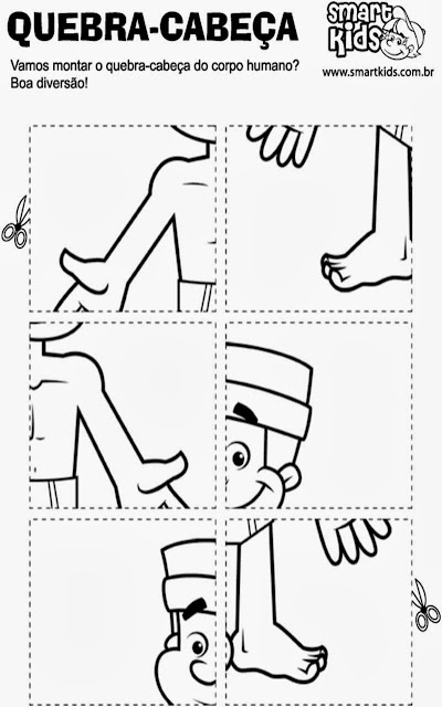 atividades educação infantil, corpo humano, recortar, montar, colar,quebra-cabeça