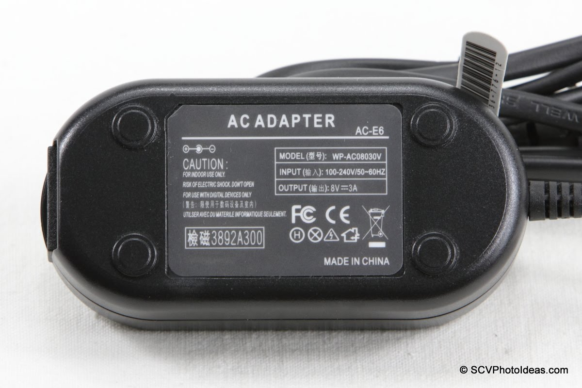 ACK-E6 AC Adapter label