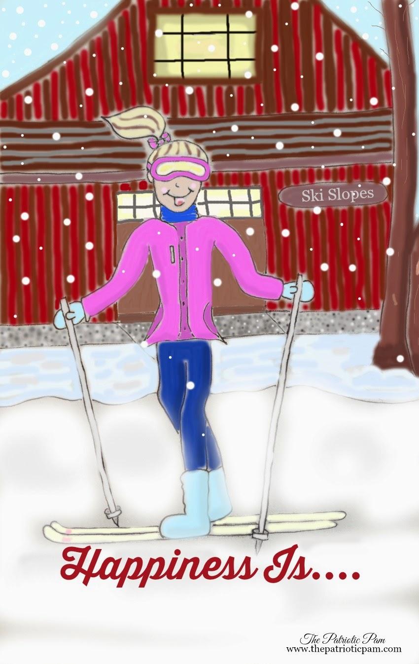 skiing, cartoon, drawing, sketch
