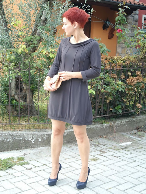 Grey Hooded Mini Dress and Blue Heels