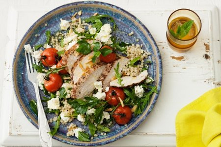 Pepper chicken and pearl couscous salad picture