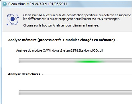 capture d'écran de Clean Virus MSN