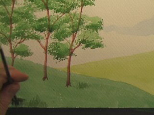 مراحل رسم منظر طبيعي بسيط بالالوان المائيه