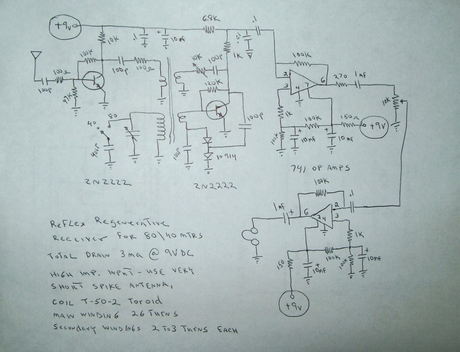 NG9D: Schematic Diagram for Joe\'s Reflex Regen Receiver Project!