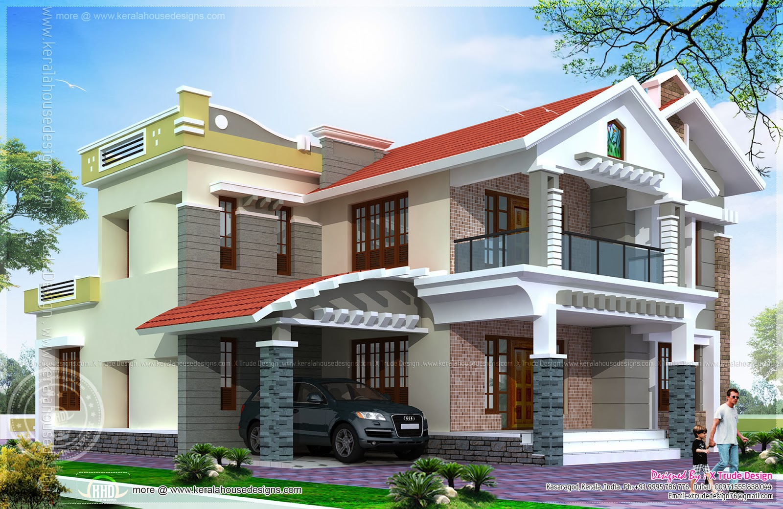 3080 Square Feet Luxury Villa Exterior Home Kerala Plans