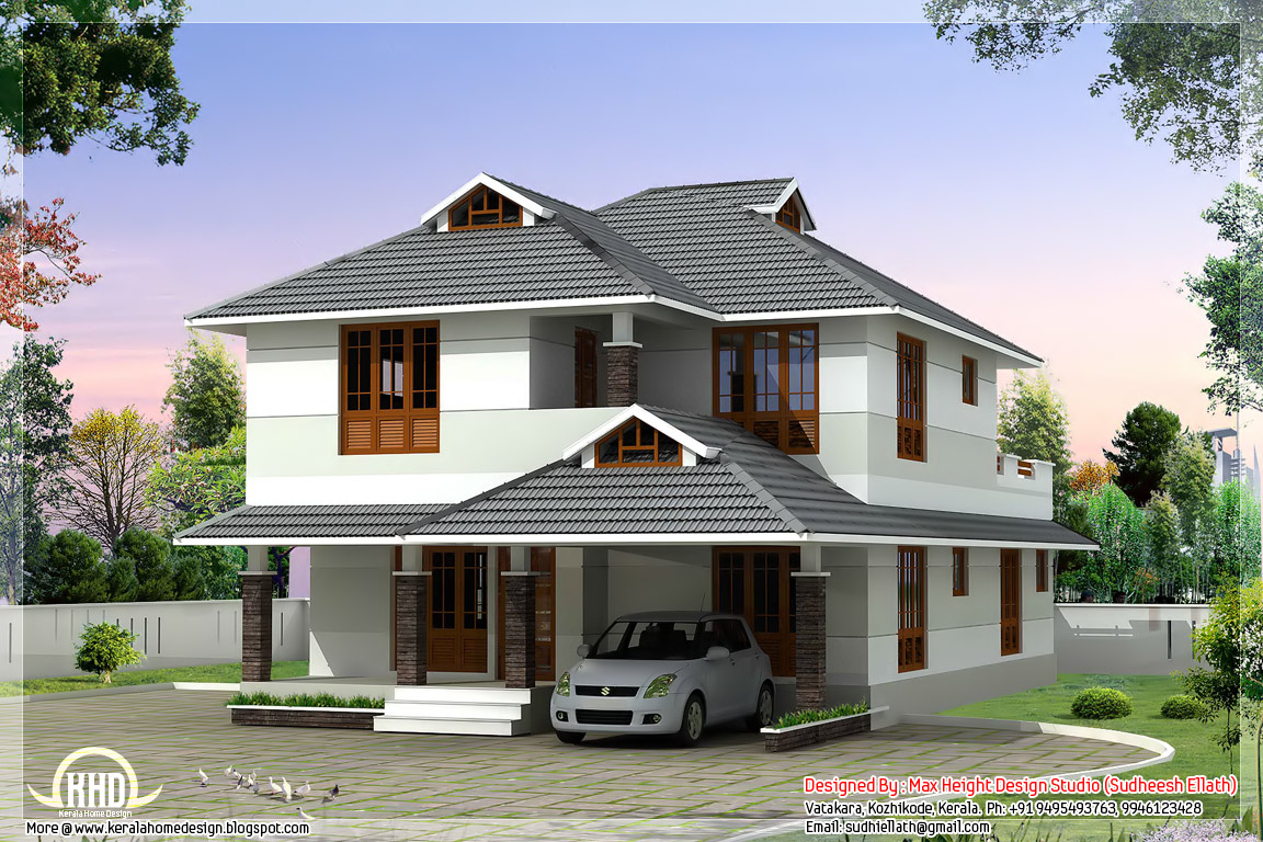 1760 beautiful 4 bedroom house plan kerala home for 4 bedroom house designs