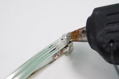 hot glue gun, be careful