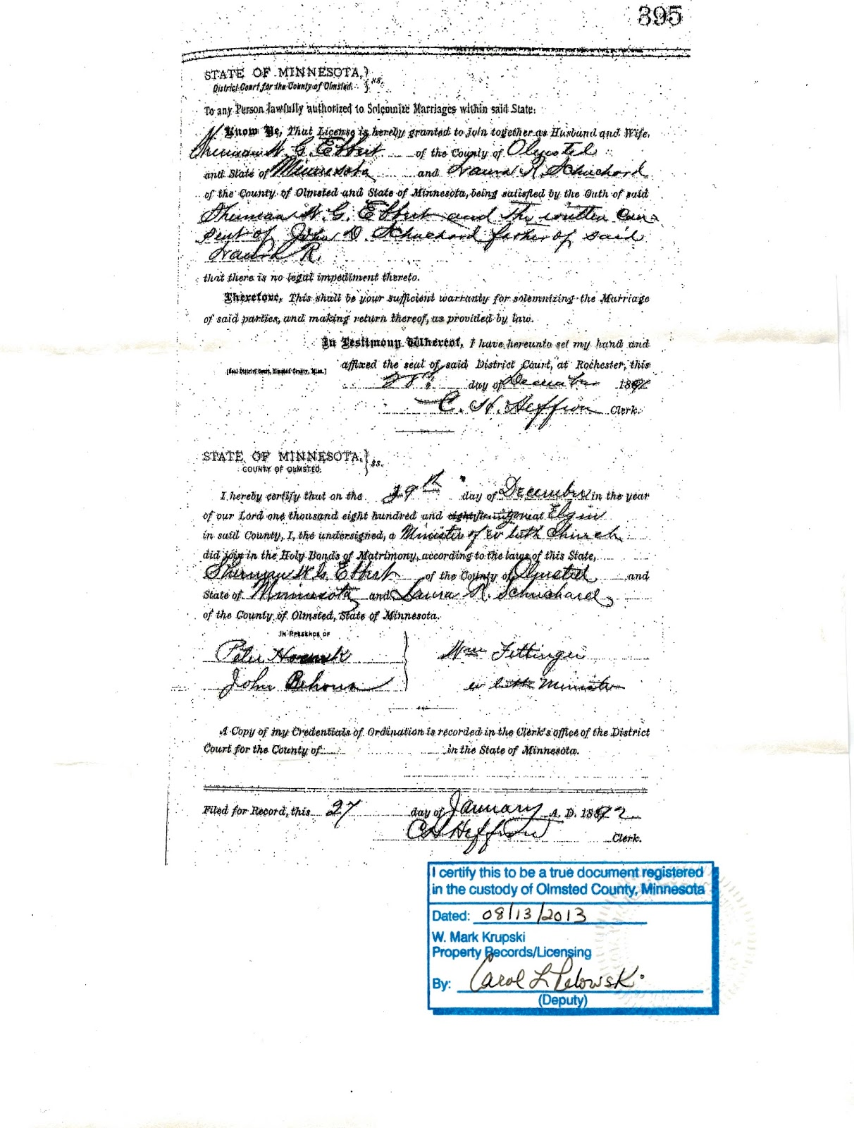 Ebbert family history putting a face on saskatchewan history state certification of sherman and lauras marriage aiddatafo Image collections