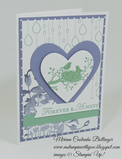 Miriam Castanho Bollinger, #mstampinwithyou, stampin up, demosntrator, pp, bridal card, subtles DSP, world of dreams, my friend stamp set, loving thoughts, big shot, hearts collection, elegant dots tief, banner triple punch, su