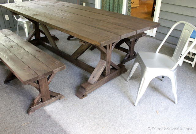 Anthro-Inspired Outdoor farmhouse table and benches at DIYontheCheap.com