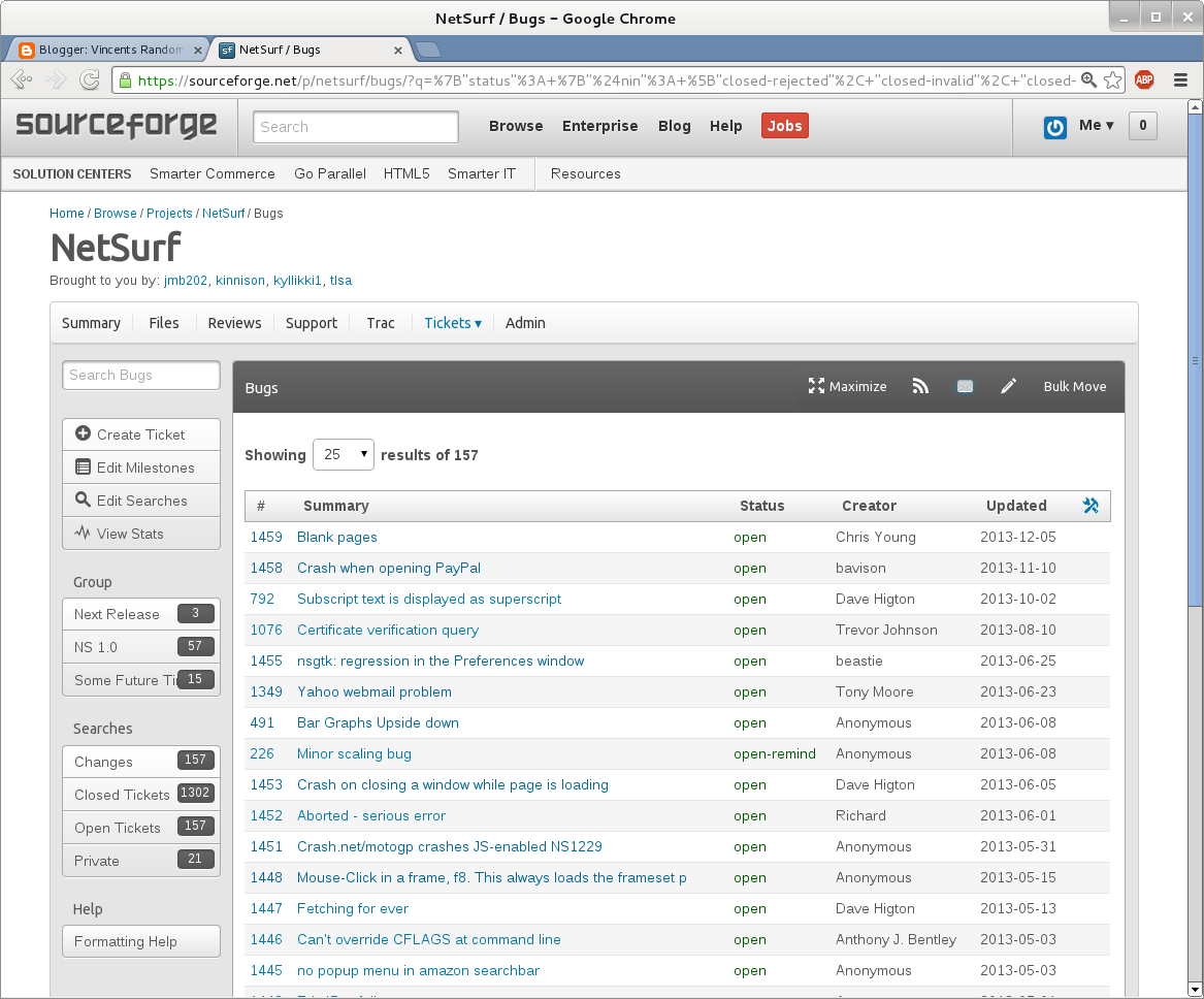 Netsurf issue tracker in the new SourceForge interface