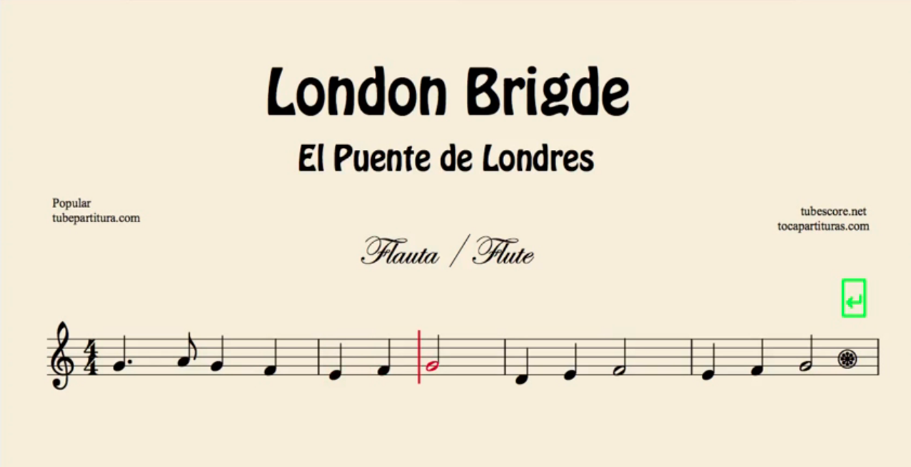 El Puente de Londres Partitura de Flauta, Violín, Saxofón Alto, Trompeta, Viola, Oboe, Clarinete, Saxo Tenor, Soprano Sax, Trombón, Fliscorno, chelo, Fagot, Barítono, Bombardino, Trompa o corno, Tuba...