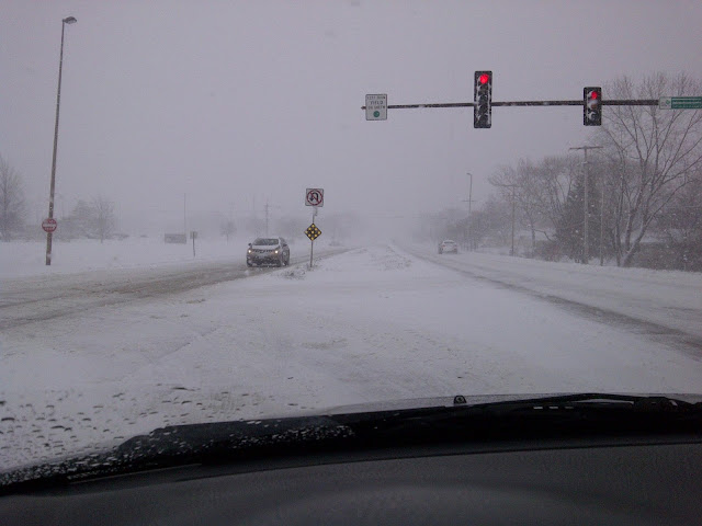 View out windshield of snow covered road and low visibility at stoplight