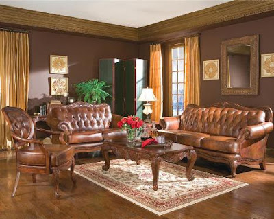 Decorate a living room brown furniture