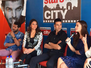 Akshay Kumar, Lara Dutta and AmyJackson at HT City