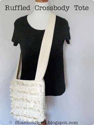 Handmade ruffled cross body tote with zipper closure, zipper and drop pockets