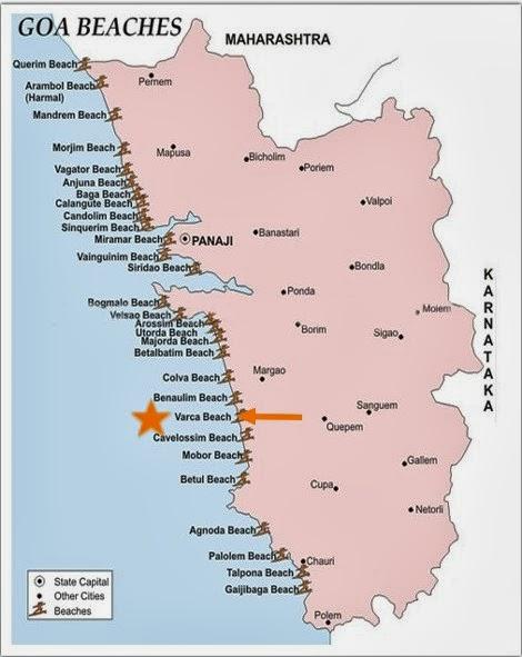 Varca Beach Goa India Location Map,Location Map of Varca Beach Goa India,Varca Beach Goa India accommodation destinations attractions hotels map photos reviews,varca beach hotel resort club mahindra goa reviews to calangute beach distance