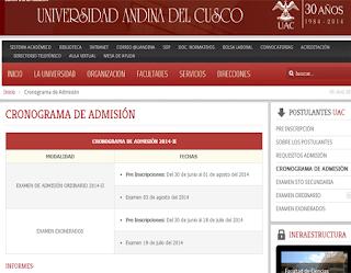 Lista resultados Prueba UAC 2014 II exámen de admisión ordinario 3 de agosto
