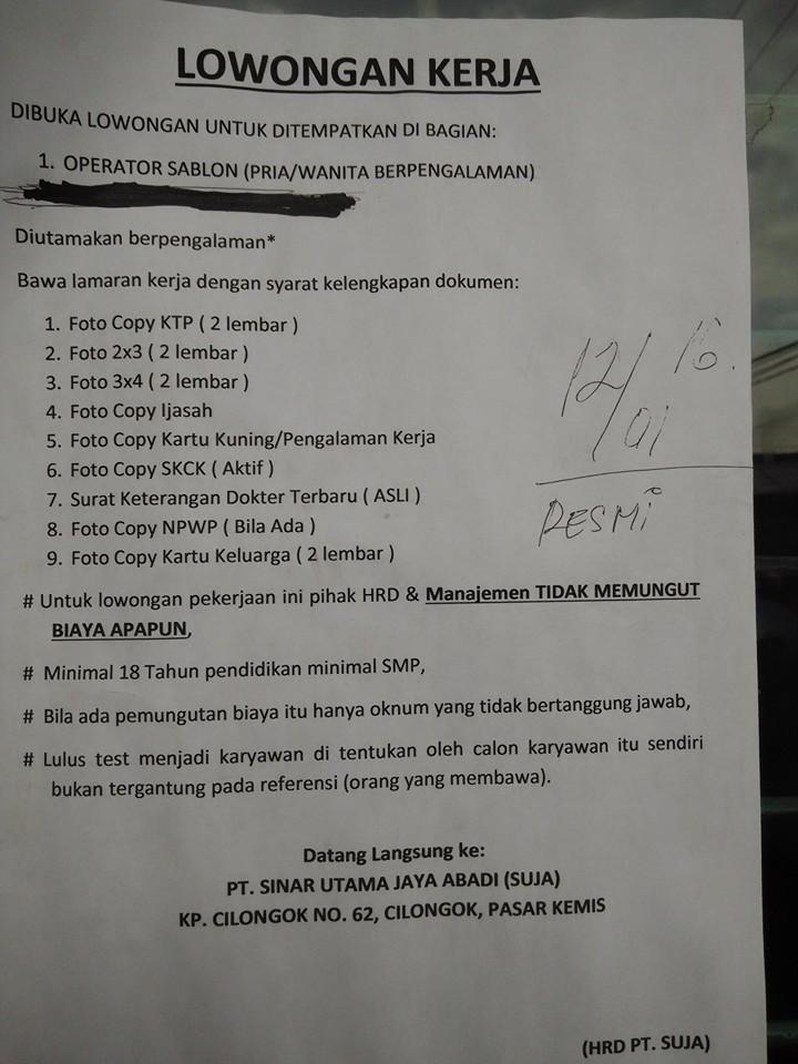 Lowongan Kerja Pt Sinar Utama Jaya Abadi Info Loker Karawang