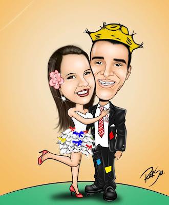 caricatura de casal com tema de quermese