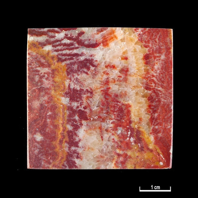 Marble specimen. Red Onyx. Ain Smara Quarries, Algeria.  Red Onyx. Alternative name: Rouge Agate. Specimen description: Crimson with white, pink, purple and orange veins and mottled markings. M Marius Cantini, Marseilles.