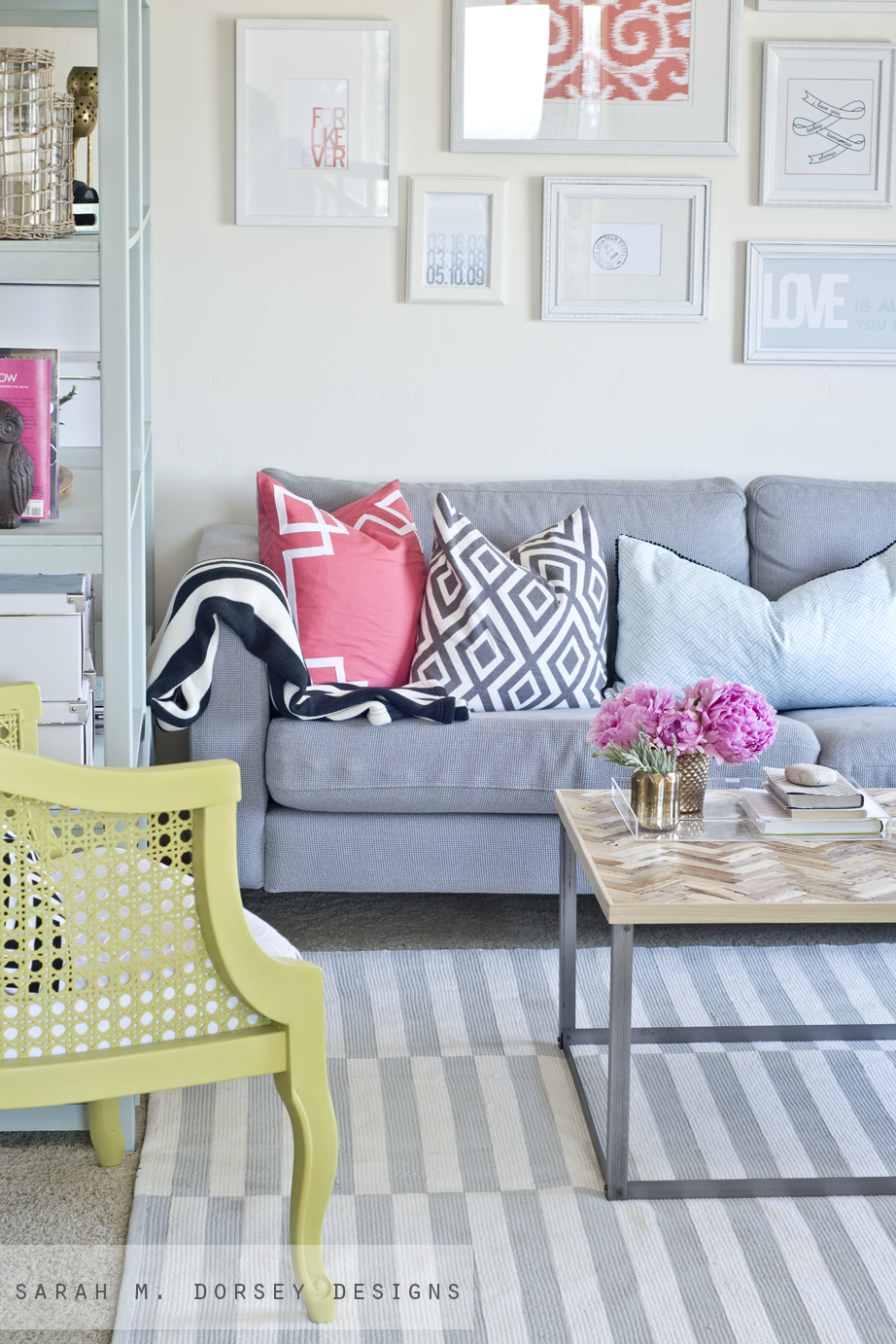 Sarah M Dorsey Designs DIY Striped Painted Rug In About