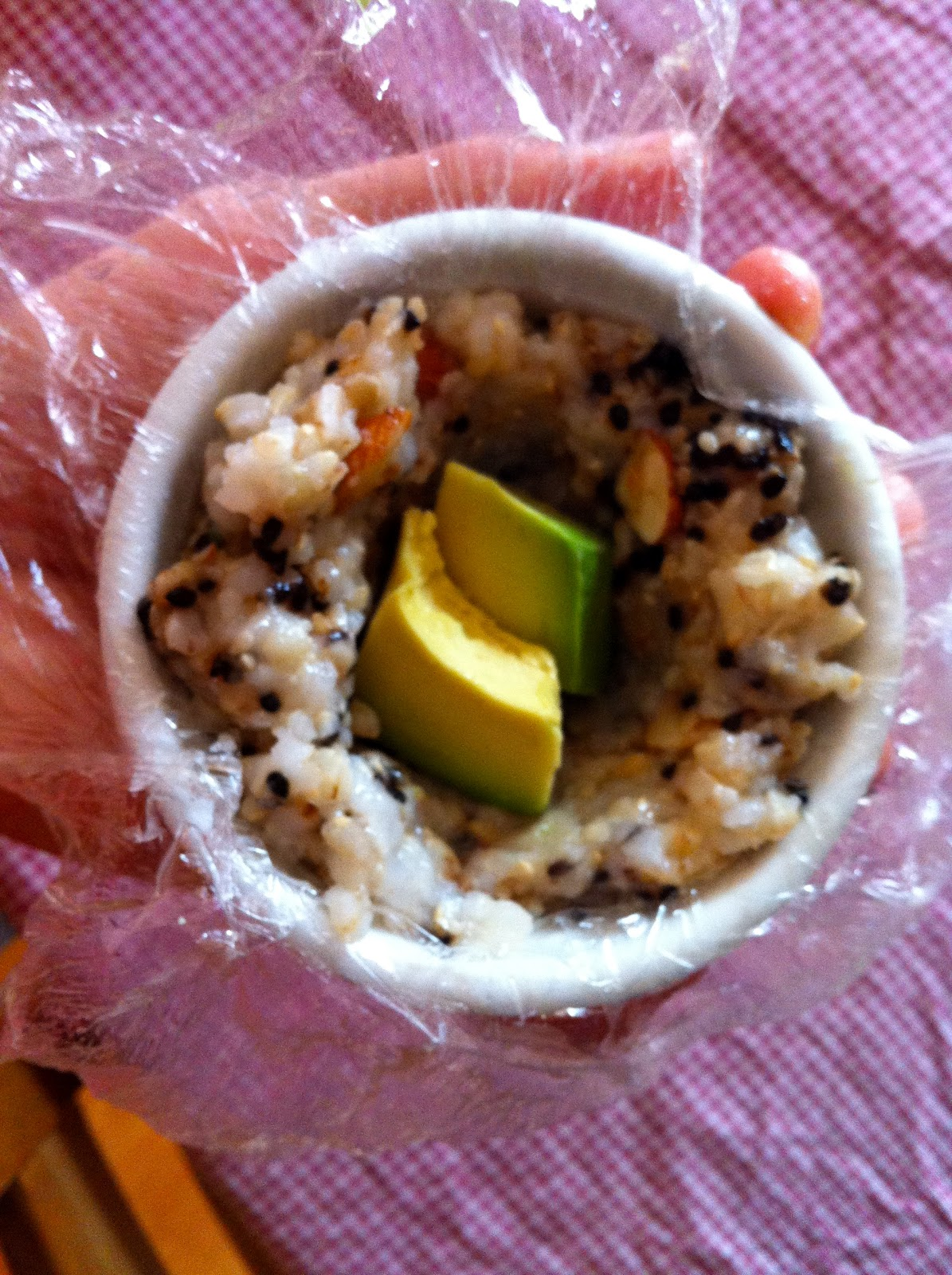 local lunch box: Sesame & Almond brown rice balls with avocado