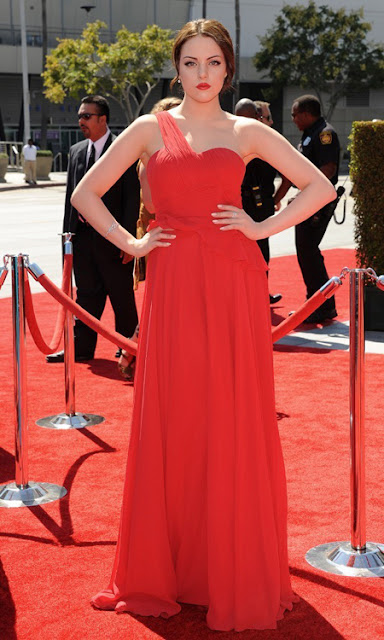 73011938521 Actress Elizabeth Gillies wore a flowy coral coloured gown from Amit GT s  latest collection at Primetime Emmy Awards 2012 held at Nokia Theatre, ...
