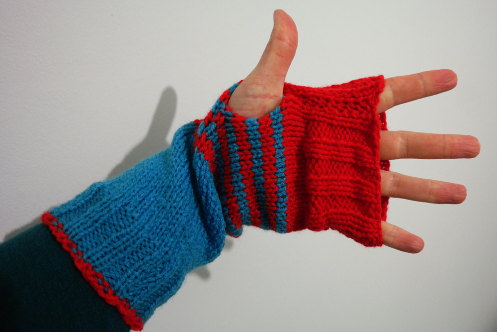 Blue and red wrist warmers