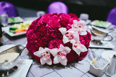 carnation ball centerpiece, cymbidium orchid
