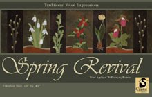 "Spring Revival Wool Applique Runner/Wallhanging 13"" x 45"""