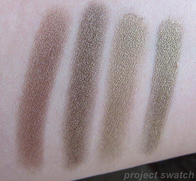 Comparison swatches Urban Decay Smog, RBR Abyssinian Catbird, Inglot 433P, L'Oreal Gleaming Bronze