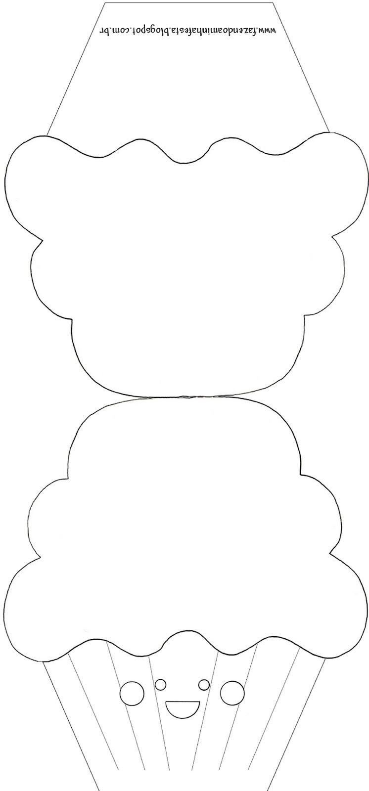 Moldes decorados e molde limpo de convite de cupcake - Papel para dibujar ...