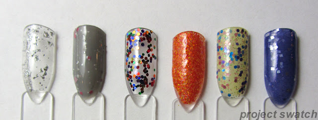 "swatches - Nail Pattern Boldness ""Silver"" Flake Topcoat, Nail Pattern Boldness Oodiful, Nail Pattern Boldness Ignition (remix), Nail Pattern Boldness Seppuku (with a frisbee), Candeo Colors Jellybean, Hare Twilight Savings"