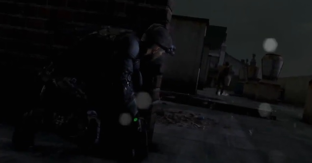 Sam Fisher sneaking up on enemy in video game Splinter Cell: Blacklist