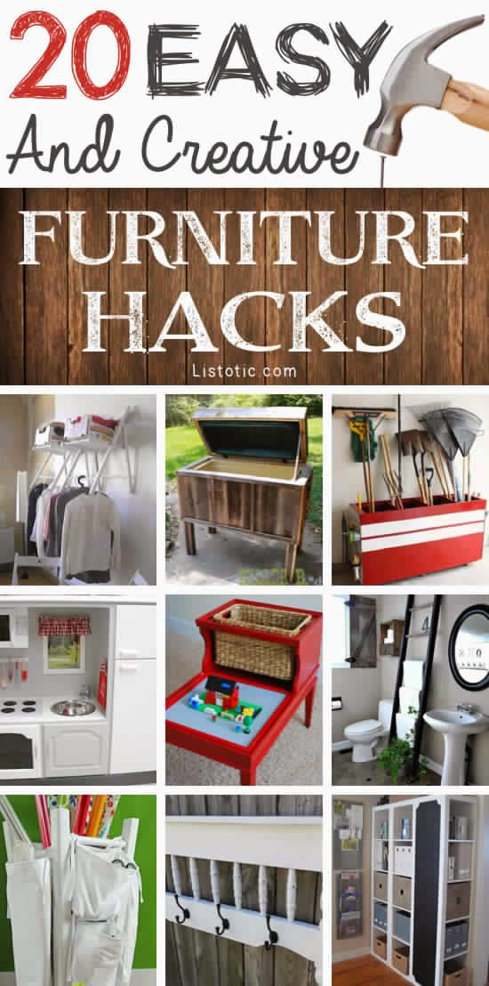 20 creative diy furniture hacks diy craft projects for Unique diy furniture