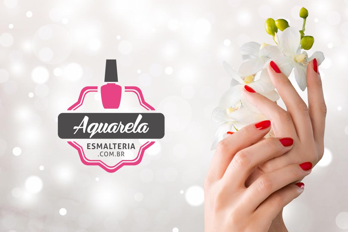 Identidade visual da Aquarela Esmalteria, logo