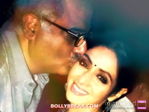 boney kapoor kissing  Sridevi  - (8) -  Sridevi's Twitter Pictures with Daughters & Family