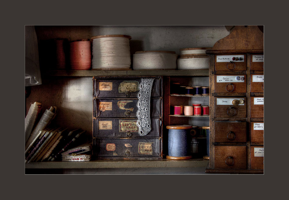 Threads and lace in Laskay Emporium at Black Creek Pioneer Village.  Holly Cawfield Photography