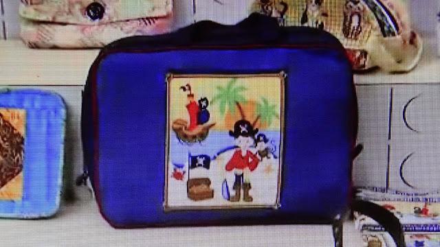 Mala bolsa infantil em tecidos do pirata