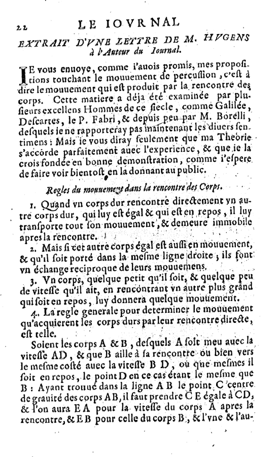 Paper in Journal des scavans from 1669