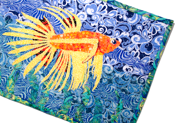Free-form Quilting Fish Wall Hanging