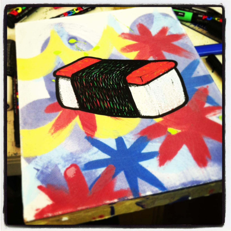 Spam Musubi Drawing Spam Musubi Resin Art