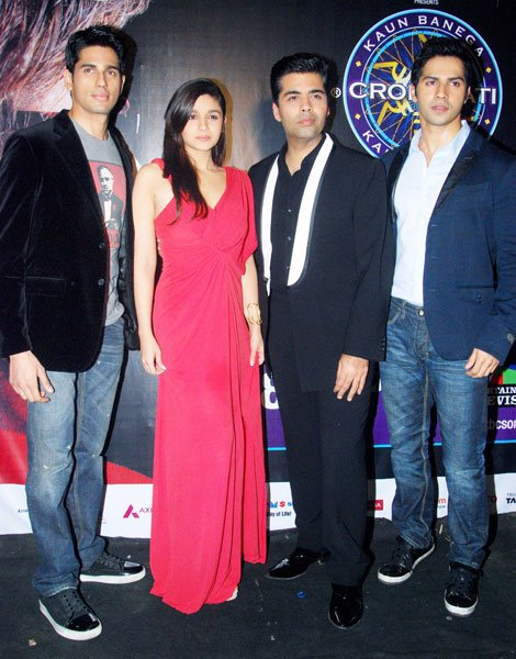 Karan Johar and the cast of Student of the Year