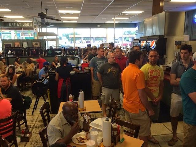 Queue inside Oklahoma Joe's