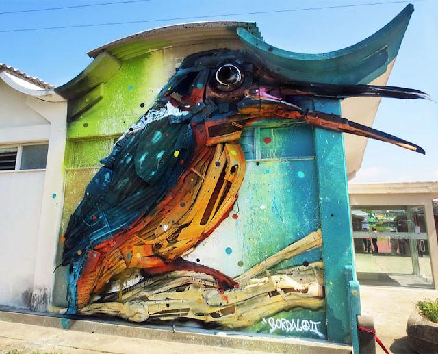 Farbkräftige Tiere als Schrott-Skulpturen in Lissabon – Gartenaccessoires zum Selbermachen