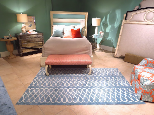 Light blue COCOCOZY Loop Rug at Century Furniture Showroom at High Point Market in North Carolina