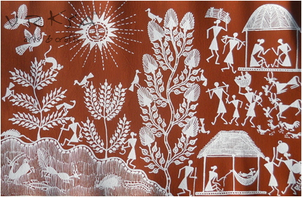 Vrksa Arts Crafts Warli Street Indian Traditional Painting